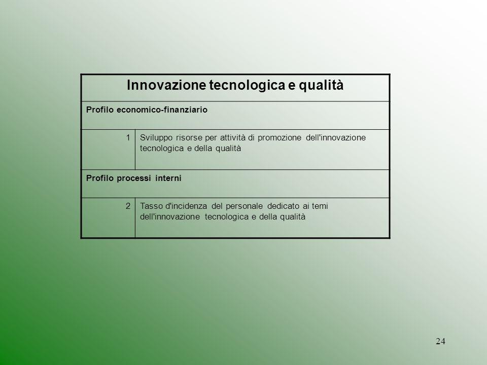 24 Innovazione tecnologica e qualità Profilo economico-finanziario 1Sviluppo risorse per attività di promozione dell innovazione tecnologica e della qualità Profilo processi interni 2Tasso d incidenza del personale dedicato ai temi dell innovazione tecnologica e della qualità