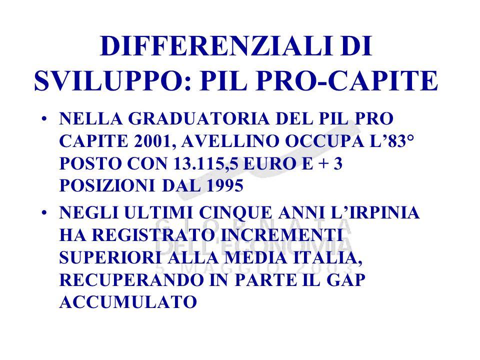 DIFFERENZIALI DI SVILUPPO: PIL PRO-CAPITE NELLA GRADUATORIA DEL PIL PRO CAPITE 2001, AVELLINO OCCUPA L83° POSTO CON 13.115,5 EURO E + 3 POSIZIONI DAL 1995 NEGLI ULTIMI CINQUE ANNI LIRPINIA HA REGISTRATO INCREMENTI SUPERIORI ALLA MEDIA ITALIA, RECUPERANDO IN PARTE IL GAP ACCUMULATO