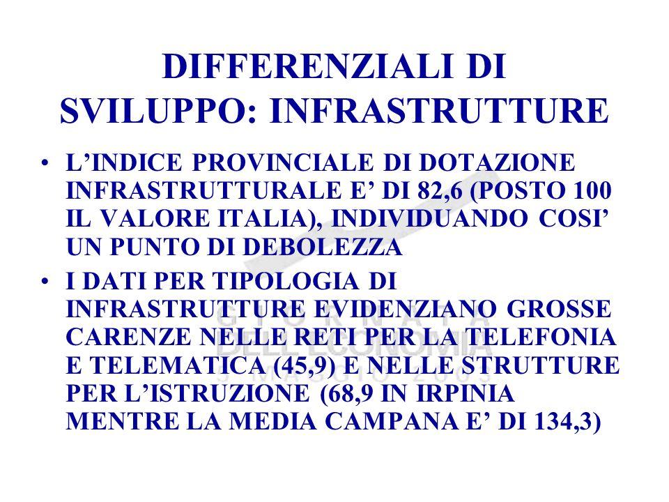 DIFFERENZIALI DI SVILUPPO: INFRASTRUTTURE LINDICE PROVINCIALE DI DOTAZIONE INFRASTRUTTURALE E DI 82,6 (POSTO 100 IL VALORE ITALIA), INDIVIDUANDO COSI UN PUNTO DI DEBOLEZZA I DATI PER TIPOLOGIA DI INFRASTRUTTURE EVIDENZIANO GROSSE CARENZE NELLE RETI PER LA TELEFONIA E TELEMATICA (45,9) E NELLE STRUTTURE PER LISTRUZIONE (68,9 IN IRPINIA MENTRE LA MEDIA CAMPANA E DI 134,3)