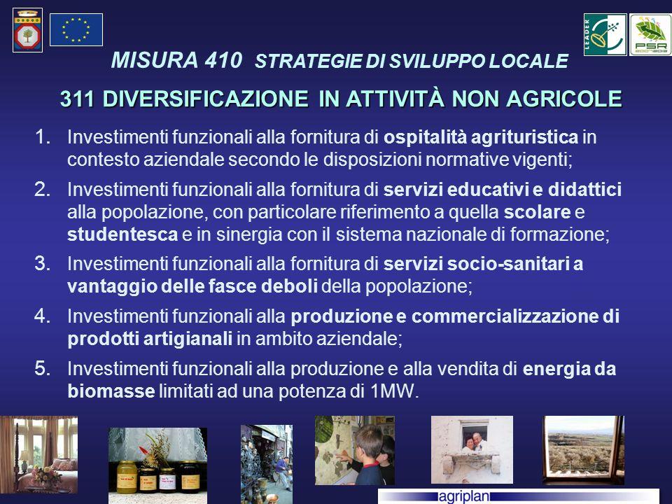 1. Investimenti funzionali alla fornitura di ospitalità agrituristica in contesto aziendale secondo le disposizioni normative vigenti; 2. Investimenti