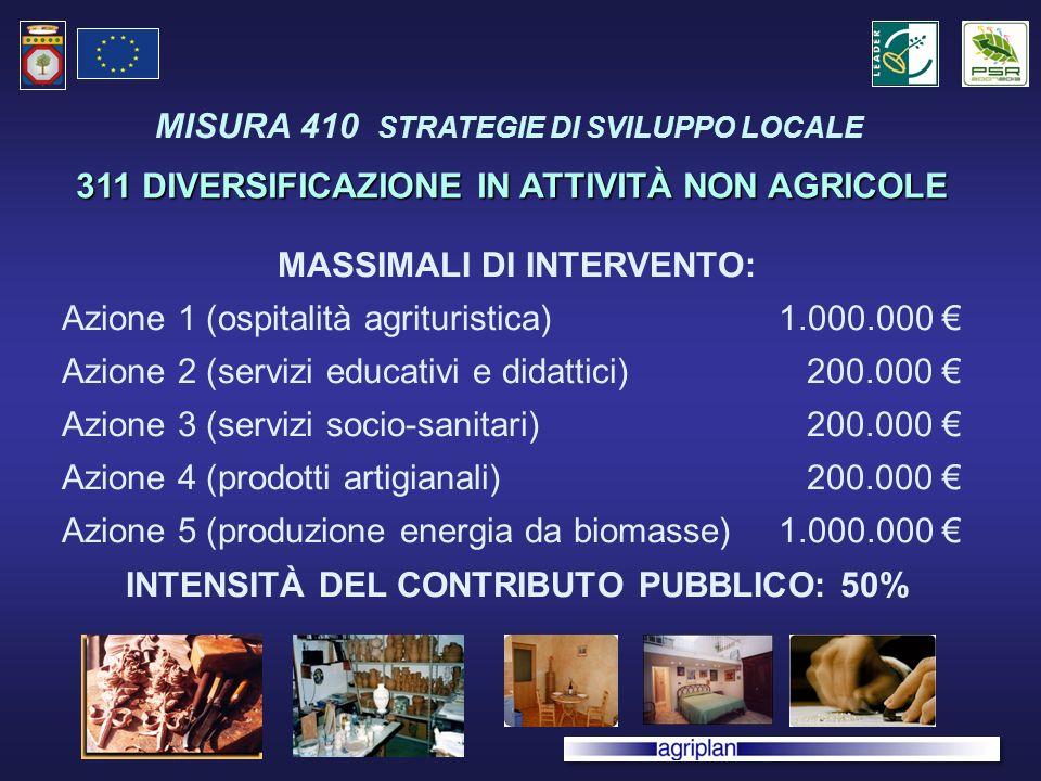 MASSIMALI DI INTERVENTO: Azione 1 (ospitalità agrituristica)1.000.000 Azione 2 (servizi educativi e didattici) 200.000 Azione 3 (servizi socio-sanitari) 200.000 Azione 4 (prodotti artigianali) 200.000 Azione 5 (produzione energia da biomasse)1.000.000 INTENSITÀ DEL CONTRIBUTO PUBBLICO: 50% 311 DIVERSIFICAZIONE IN ATTIVITÀ NON AGRICOLE MISURA 410 STRATEGIE DI SVILUPPO LOCALE