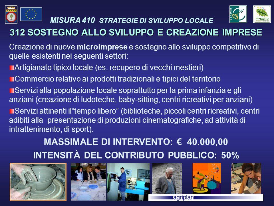 312 SOSTEGNO ALLO SVILUPPO E CREAZIONE IMPRESE Creazione di nuove microimprese e sostegno allo sviluppo competitivo di quelle esistenti nei seguenti settori: Artigianato tipico locale (es.