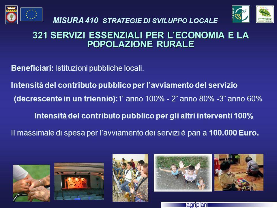 Beneficiari: Istituzioni pubbliche locali.