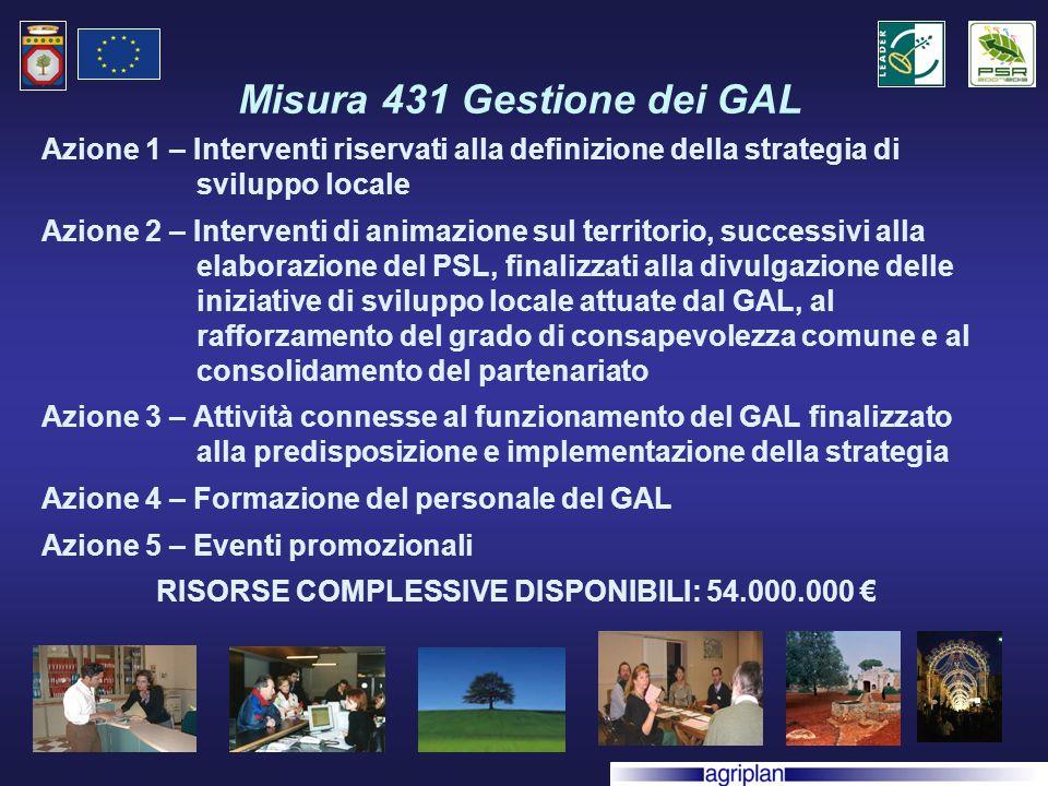 Misura 431 Gestione dei GAL Azione 1 – Interventi riservati alla definizione della strategia di sviluppo locale Azione 2 – Interventi di animazione sul territorio, successivi alla elaborazione del PSL, finalizzati alla divulgazione delle iniziative di sviluppo locale attuate dal GAL, al rafforzamento del grado di consapevolezza comune e al consolidamento del partenariato Azione 3 – Attività connesse al funzionamento del GAL finalizzato alla predisposizione e implementazione della strategia Azione 4 – Formazione del personale del GAL Azione 5 – Eventi promozionali RISORSE COMPLESSIVE DISPONIBILI: 54.000.000