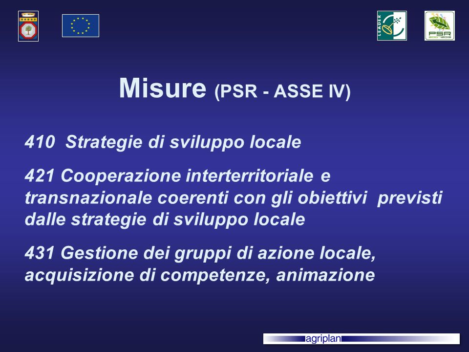 Misure (PSR - ASSE IV) 410 Strategie di sviluppo locale 421 Cooperazione interterritoriale e transnazionale coerenti con gli obiettivi previsti dalle strategie di sviluppo locale 431 Gestione dei gruppi di azione locale, acquisizione di competenze, animazione