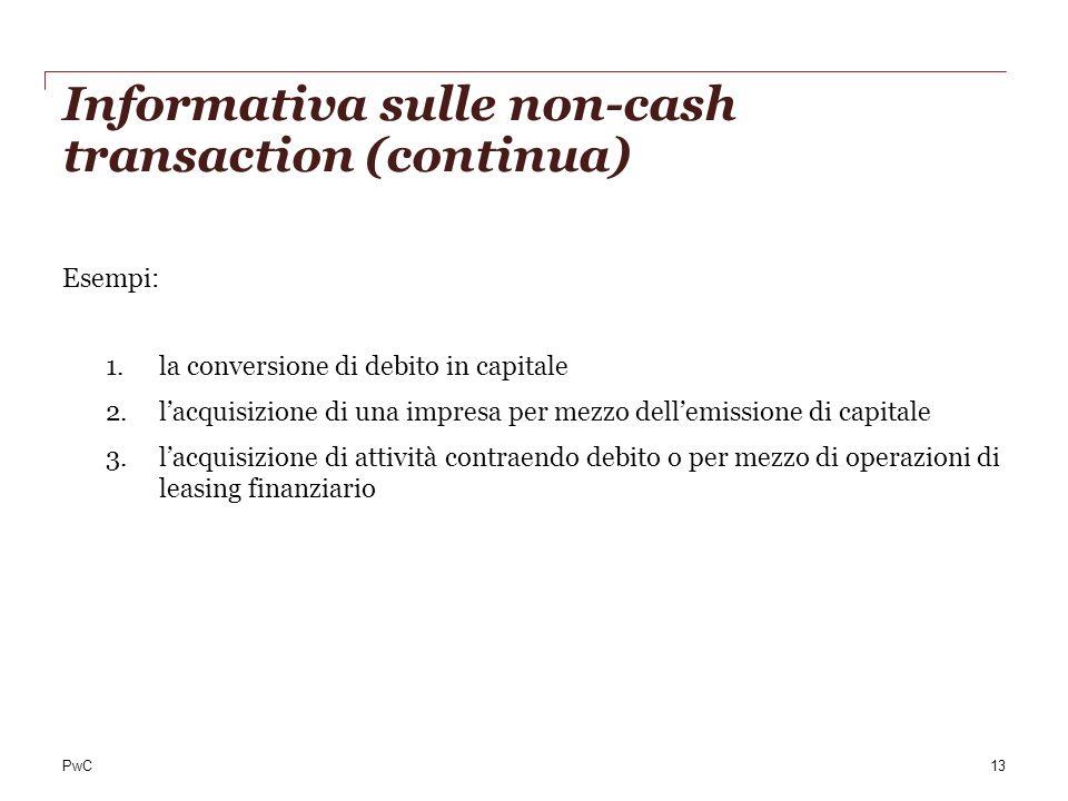 PwC Informativa sulle non-cash transaction (continua) Esempi: 1.la conversione di debito in capitale 2.lacquisizione di una impresa per mezzo dellemis