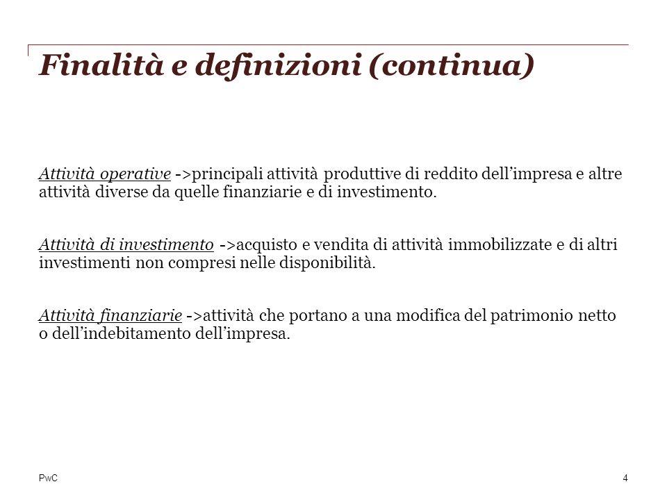PwC Finalità e definizioni (continua) Attività operative ->principali attività produttive di reddito dellimpresa e altre attività diverse da quelle fi