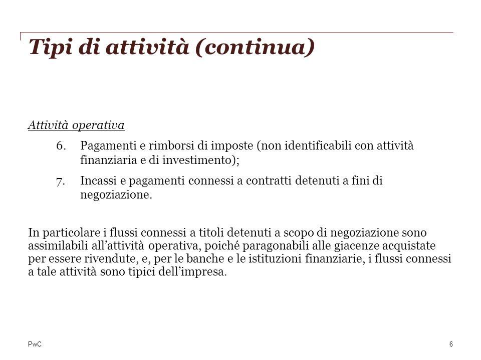 Tipi di attività (continua) Attività operativa 6.Pagamenti e rimborsi di imposte (non identificabili con attività finanziaria e di investimento); 7.In