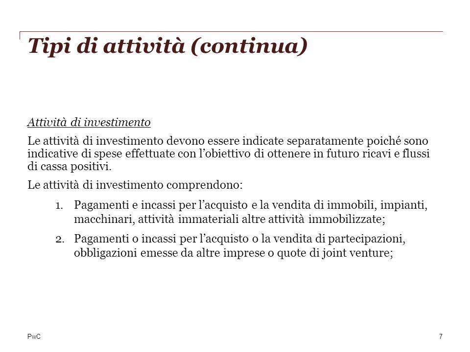 PwC Tipi di attività (continua) Attività di investimento Le attività di investimento devono essere indicate separatamente poiché sono indicative di sp