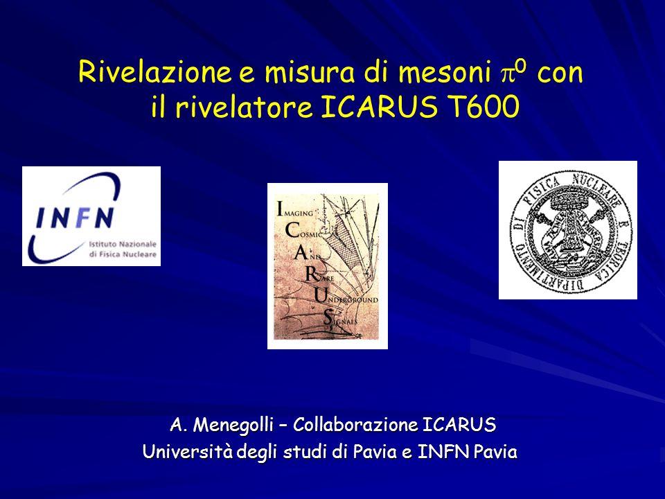 Rivelazione e misura di mesoni 0 con il rivelatore ICARUS T600 A. Menegolli – Collaborazione ICARUS A. Menegolli – Collaborazione ICARUS Università de