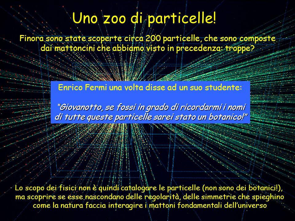 Lo scopo dei fisici non è quindi catalogare le particelle (non sono dei botanici!), ma scoprire se esse nascondano delle regolarità, delle simmetrie c