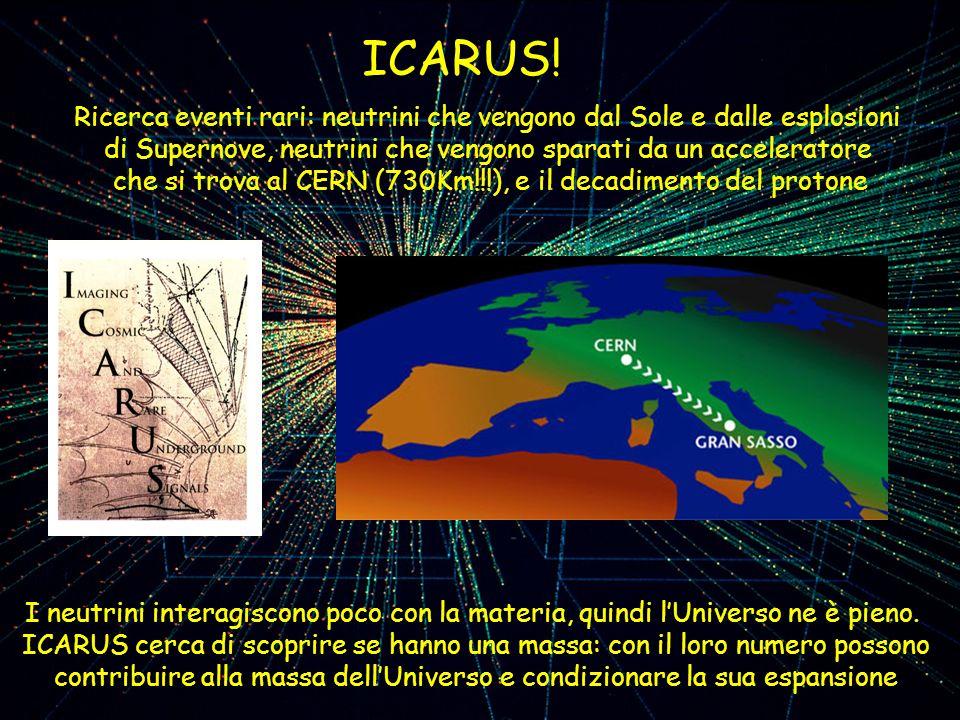 ICARUS! Ricerca eventi rari: neutrini che vengono dal Sole e dalle esplosioni di Supernove, neutrini che vengono sparati da un acceleratore che si tro