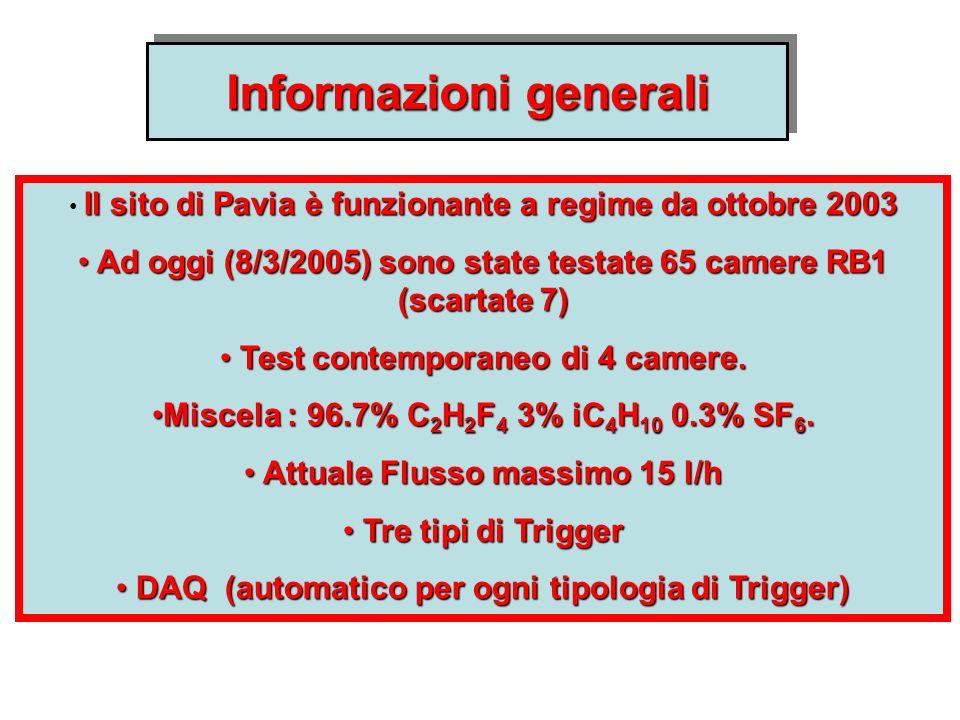 Il sito di Pavia è funzionante a regime da ottobre 2003 Ad oggi (8/3/2005) sono state testate 65 camere RB1 (scartate 7) Ad oggi (8/3/2005) sono state testate 65 camere RB1 (scartate 7) Test contemporaneo di 4 camere.