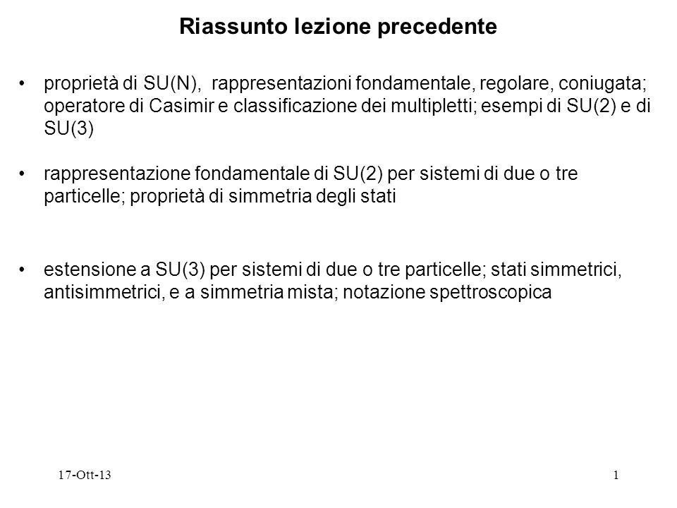 17-Ott-131 Riassunto lezione precedente proprietà di SU(N), rappresentazioni fondamentale, regolare, coniugata; operatore di Casimir e classificazione