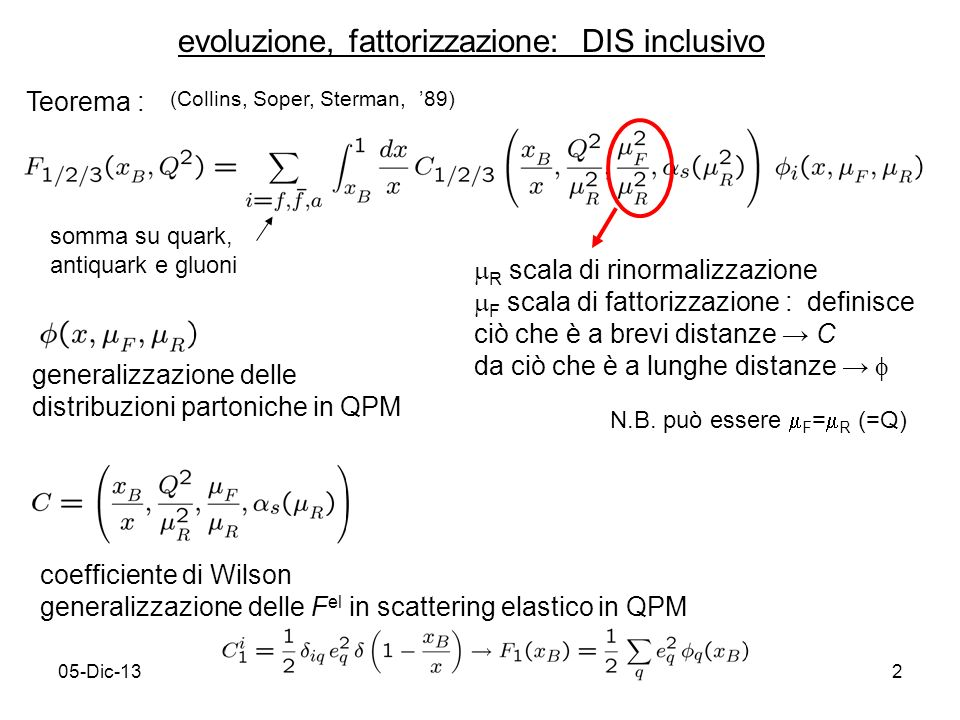 05-Dic-132 evoluzione, fattorizzazione: DIS inclusivo Teorema : (Collins, Soper, Sterman, 89) somma su quark, antiquark e gluoni R scala di rinormalizzazione F scala di fattorizzazione : definisce ciò che è a brevi distanze C da ciò che è a lunghe distanze N.B.
