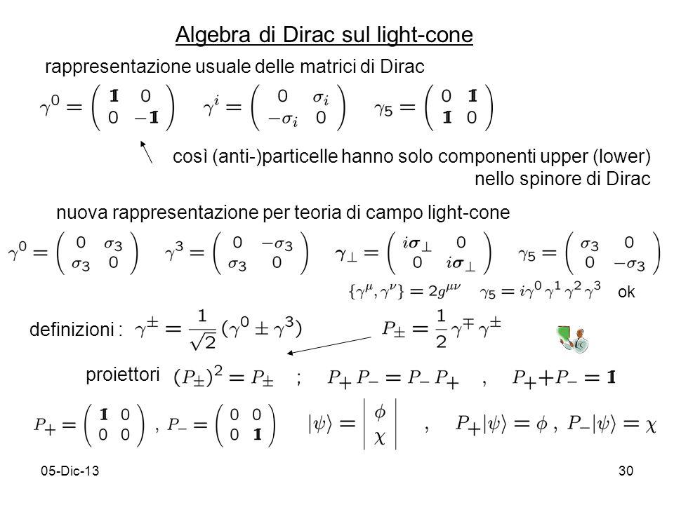 05-Dic-1330 Algebra di Dirac sul light-cone rappresentazione usuale delle matrici di Dirac così (anti-)particelle hanno solo componenti upper (lower) nello spinore di Dirac nuova rappresentazione per teoria di campo light-cone definizioni : proiettori ok