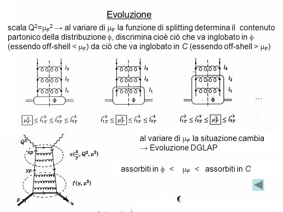 05-Dic-135 scala Q 2 = F 2 al variare di F la funzione di splitting determina il contenuto partonico della distribuzione, discrimina cioè ciò che va inglobato in (essendo off-shell F ) assorbiti in < F < assorbiti in C al variare di F la situazione cambia Evoluzione DGLAP Evoluzione