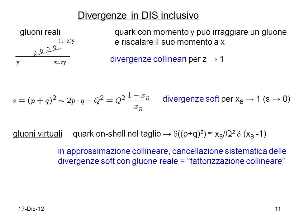 17-Dic-1211 Divergenze in DIS inclusivo gluoni realiquark con momento y può irraggiare un gluone e riscalare il suo momento a x divergenze collineari per z 1 divergenze soft per x B 1 (s 0) gluoni virtuali quark on-shell nel taglio ((p+q) 2 ) x B /Q 2 (x B -1) in approssimazione collineare, cancellazione sistematica delle divergenze soft con gluone reale = fattorizzazione collineare