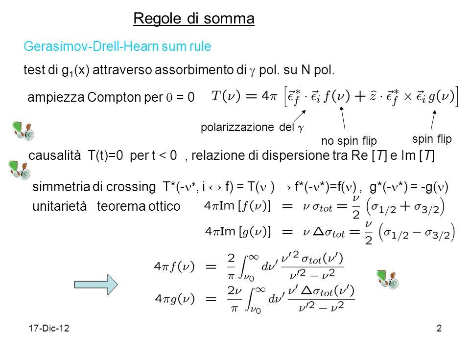 17-Dic-122 Regole di somma Gerasimov-Drell-Hearn sum rule test di g 1 (x) attraverso assorbimento di pol. su N pol. ampiezza Compton per = 0 polarizza