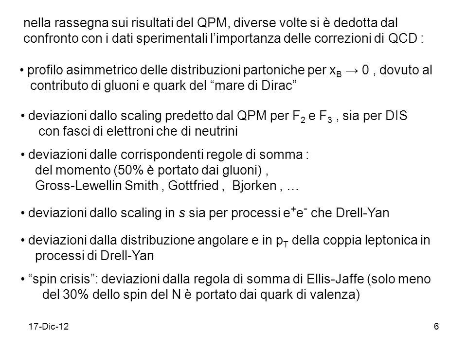 17-Dic-126 nella rassegna sui risultati del QPM, diverse volte si è dedotta dal confronto con i dati sperimentali limportanza delle correzioni di QCD : profilo asimmetrico delle distribuzioni partoniche per x B 0, dovuto al contributo di gluoni e quark del mare di Dirac deviazioni dallo scaling predetto dal QPM per F 2 e F 3, sia per DIS con fasci di elettroni che di neutrini deviazioni dalle corrispondenti regole di somma : del momento (50% è portato dai gluoni), Gross-Lewellin Smith, Gottfried, Bjorken, … deviazioni dallo scaling in s sia per processi e + e - che Drell-Yan deviazioni dalla distribuzione angolare e in p T della coppia leptonica in processi di Drell-Yan spin crisis: deviazioni dalla regola di somma di Ellis-Jaffe (solo meno del 30% dello spin del N è portato dai quark di valenza)