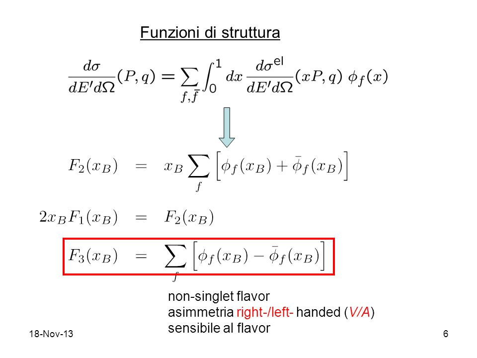 18-Nov-137 SU f (3) 12 incognite : 8 misure possibili : invarianza di isospin : (2 relazioni) simmetria di isospin del mare : (2 relazioni) Sistema determinato: da DIS (anti)neutrino – Nucleone si possono estrarre le distribuzioni degli (anti)quark per i tre flavor