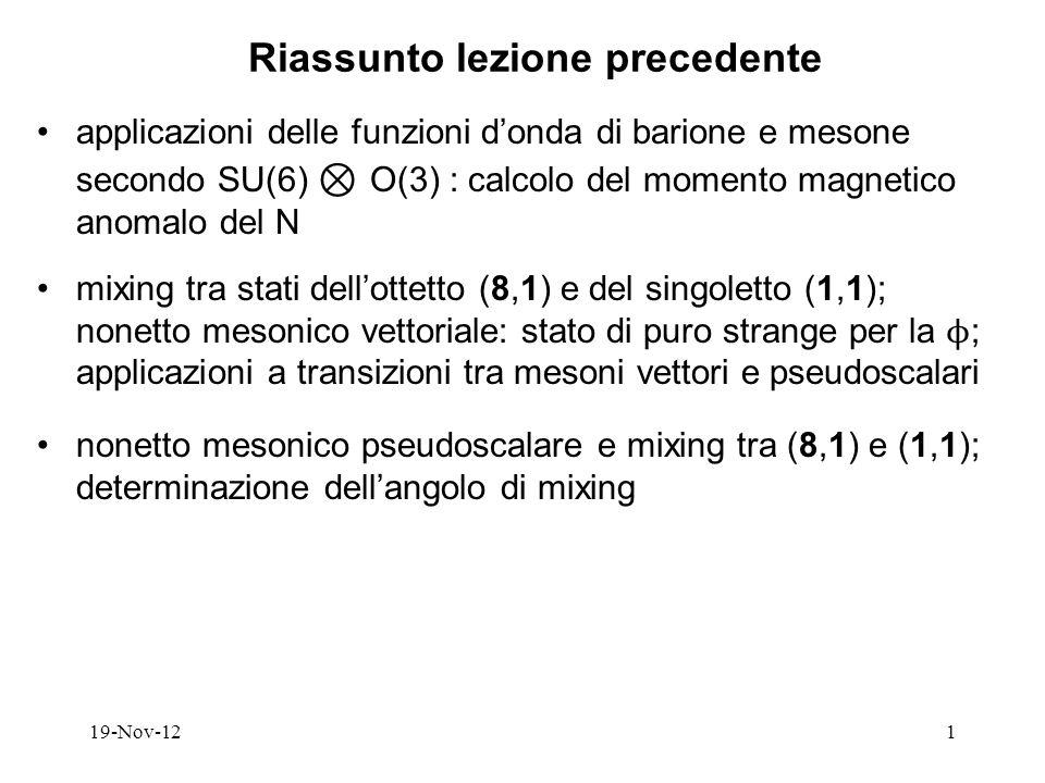19-Nov-121 Riassunto lezione precedente applicazioni delle funzioni donda di barione e mesone secondo SU(6) O(3) : calcolo del momento magnetico anomalo del N mixing tra stati dellottetto (8,1) e del singoletto (1,1); nonetto mesonico vettoriale: stato di puro strange per la ϕ ; applicazioni a transizioni tra mesoni vettori e pseudoscalari nonetto mesonico pseudoscalare e mixing tra (8,1) e (1,1); determinazione dellangolo di mixing