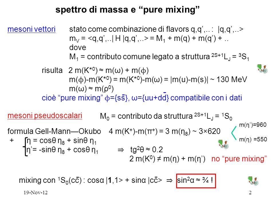 mixing con 1 S 0 (cc) : cosα |1,1> + sinα |cc> sin 2 α ¾ ! 19-Nov-122 spettro di massa e pure mixing mesoni vettoristato come combinazione di flavors
