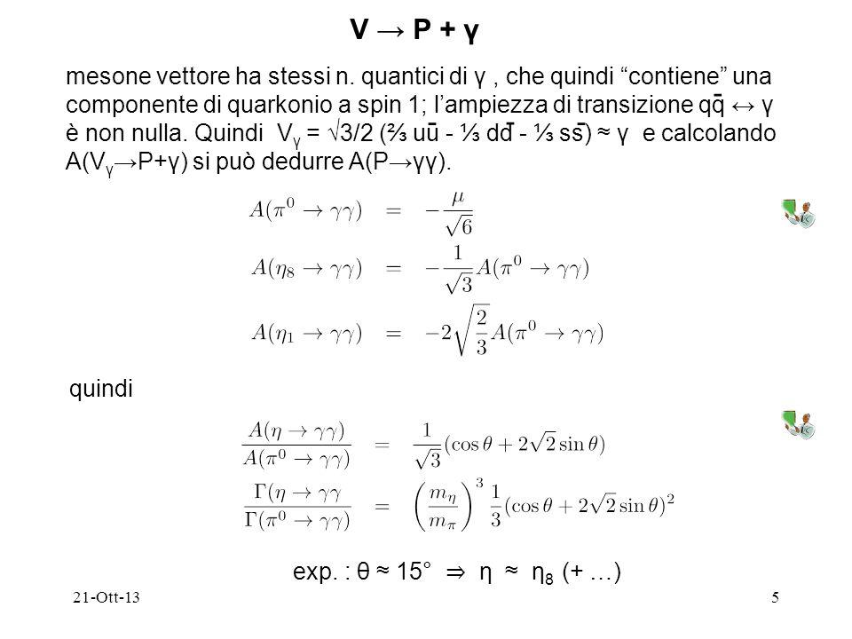 21-Ott-135 V P + γ mesone vettore ha stessi n. quantici di γ, che quindi contiene una componente di quarkonio a spin 1; lampiezza di transizione qq γ