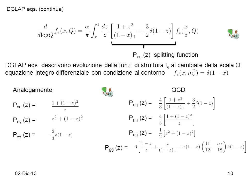 02-Dic-1310 DGLAP eqs. (continua) DGLAP eqs. descrivono evoluzione della funz.