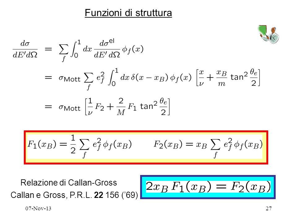 07-Nov-1327 Funzioni di struttura Relazione di Callan-Gross Callan e Gross, P.R.L. 22 156 (69)
