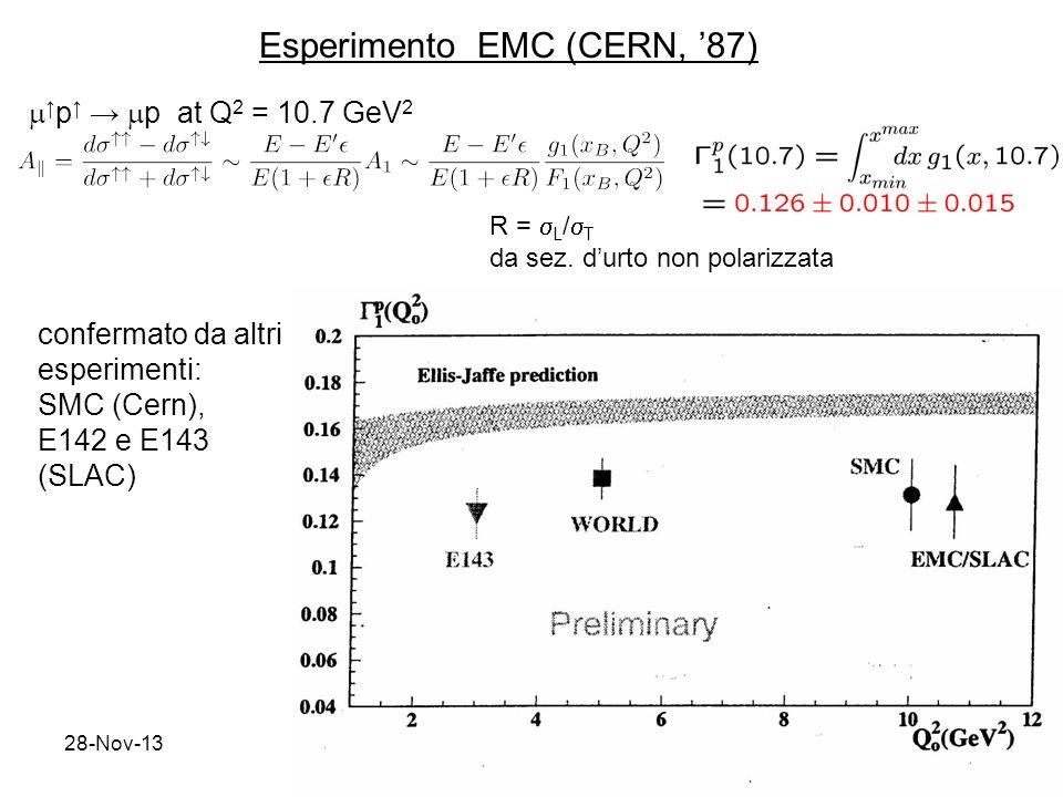 28-Nov-1312 p p at Q 2 = 10.7 GeV 2 confermato da altri esperimenti: SMC (Cern), E142 e E143 (SLAC) R = L / T da sez. durto non polarizzata Esperiment