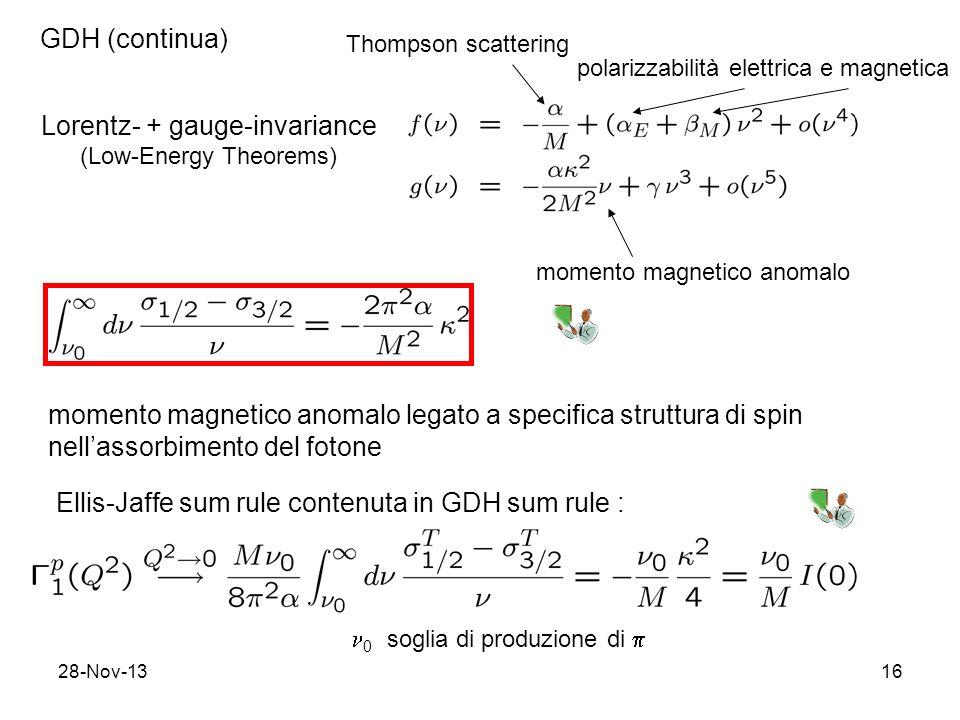 28-Nov-1316 GDH (continua) Lorentz- + gauge-invariance (Low-Energy Theorems) Thompson scattering polarizzabilità elettrica e magnetica momento magnetico anomalo momento magnetico anomalo legato a specifica struttura di spin nellassorbimento del fotone Ellis-Jaffe sum rule contenuta in GDH sum rule : 0 soglia di produzione di
