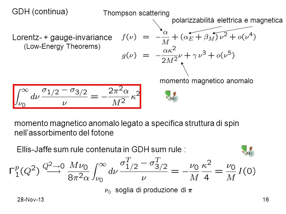 28-Nov-1316 GDH (continua) Lorentz- + gauge-invariance (Low-Energy Theorems) Thompson scattering polarizzabilità elettrica e magnetica momento magneti