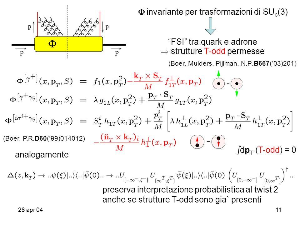 28 apr 0411 invariante per trasformazioni di SU c (3) FSI tra quark e adrone ) strutture T-odd permesse (Boer, Mulders, Pijlman, N.P.B667(03)201) s dp T (T-odd) = 0 analogamente preserva interpretazione probabilistica al twist 2 anche se strutture T-odd sono gia` presenti (Boer, P.R.D60(99)014012)