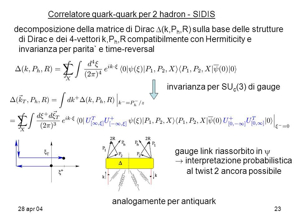 28 apr 0423 decomposizione della matrice di Dirac (k,P h,R) sulla base delle strutture di Dirac e dei 4-vettori k,P h,R compatibilmente con Hermiticity e invarianza per parita` e time-reversal Correlatore quark-quark per 2 hadron - SIDIS invarianza per SU c (3) di gauge gauge link riassorbito in .