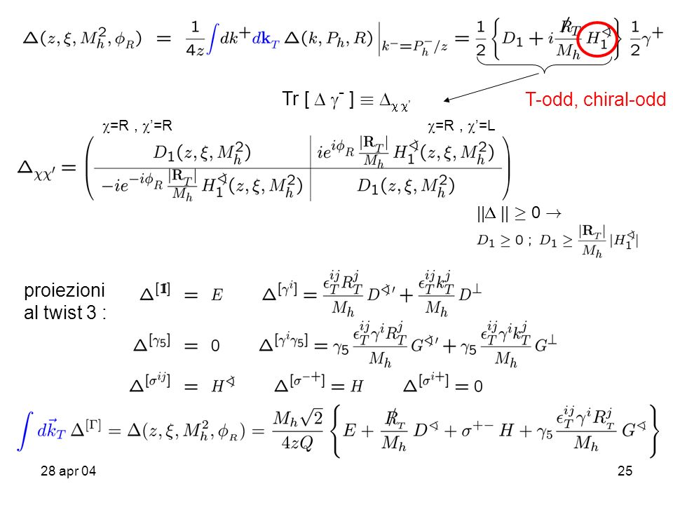 28 apr 0425 proiezioni al twist 3 : T-odd, chiral-odd Tr [ - ] ´ =R, =R =R, =L || || ¸ 0 !