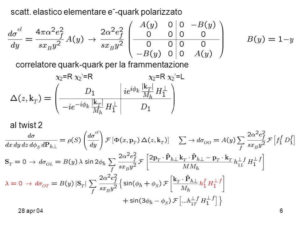 28 apr 0417 per avere piu` informazioni si puo` comparare con il DY (non) polarizzato assumendo la fattorizzazione (teoremi non dimostrati per processi hard dipendenti da momenti trasversi) .