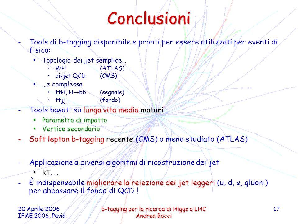 20 Aprile 2006 IFAE 2006, Pavia b-tagging per la ricerca di Higgs a LHC Andrea Bocci 17 Conclusioni -Tools di b-tagging disponibile e pronti per essere utilizzati per eventi di fisica: Topologia dei jet semplice… WH (ATLAS) di-jet QCD (CMS) …e complessa ttH, H bb (segnale) ttjj… (fondo) lunga vita media maturi -Tools basati su lunga vita media maturi Parametro di impatto Parametro di impatto Vertice secondario Vertice secondario -Soft lepton b-tagging recente -Soft lepton b-tagging recente (CMS) o meno studiato (ATLAS) -Applicazione a diversi algoritmi di ricostruzione dei jet kT kT, … migliorare la reiezione dei jet leggeri -È indispensabile migliorare la reiezione dei jet leggeri (u, d, s, gluoni) per abbassare il fondo di QCD !