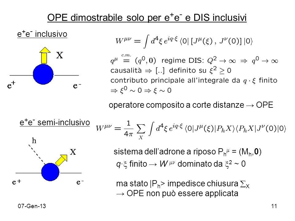 07-Gen-1311 OPE dimostrabile solo per e + e - e DIS inclusivi e + e - inclusivo operatore composito a corte distanze OPE e + e - semi-inclusivo sistema delladrone a riposo P h = (M h,0) q finito W dominato da 2 ~ 0 ma stato |P h > impedisce chiusura X OPE non può essere applicata