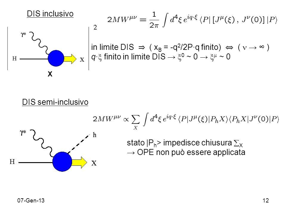 07-Gen-1312 DIS inclusivo X in limite DIS ( x B = -q 2 /2Pq finito) ( ) q finito in limite DIS 0 ~ 0 ~ 0 DIS semi-inclusivo stato |P h > impedisce chiusura X OPE non può essere applicata