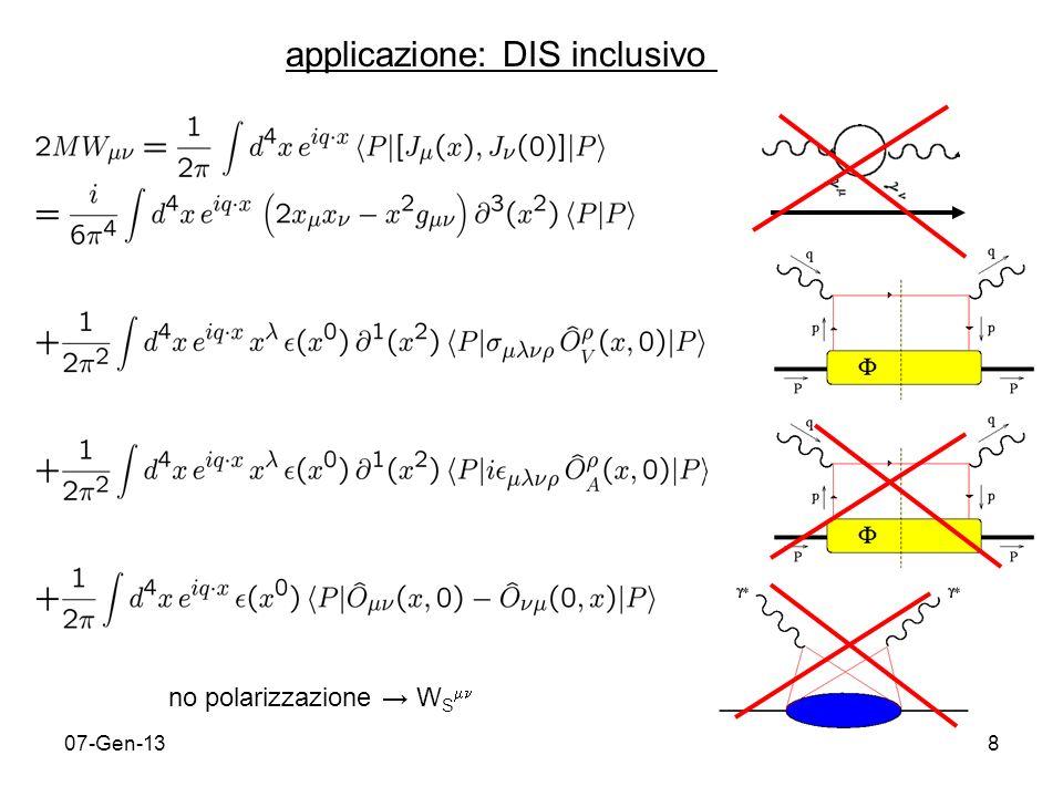 07-Gen-139 Riassunto procedura per il calcolo di W : espansione OPE per operatore bilocale in serie di operatori locali trasformata di Fourier di ciascun termine somma dei termini ottenuti risultato finale esprimibile in serie di potenze di M/Q attraverso il twist t ( 2) = d (dimensione canonica delloperatore) spin la serie di potenze è contenuta nelloperatore bilocale ~ n.