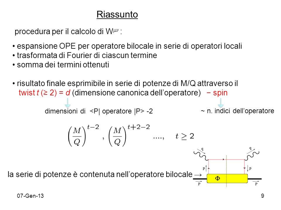 07-Gen-1310 correzioni QCD correzioni di potenze 1 1/Q 1/Q 2 1/Q 3 … 1 s s 2 … QPM IQPM Operator Product Expansion ….