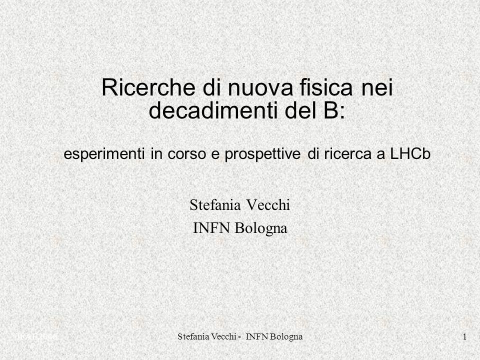 IFAE2006Stefania Vecchi - INFN Bologna1 Ricerche di nuova fisica nei decadimenti del B: esperimenti in corso e prospettive di ricerca a LHCb Stefania Vecchi INFN Bologna Stefania Vecchi INFN Bologna