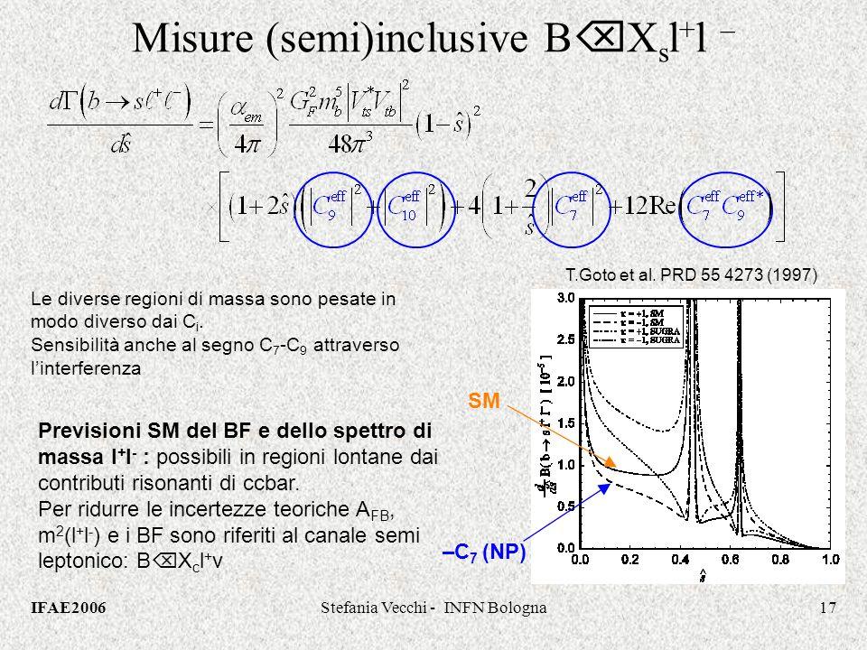IFAE2006Stefania Vecchi - INFN Bologna17 Misure (semi)inclusive B X s l + l – Previsioni SM del BF e dello spettro di massa l + l - : possibili in regioni lontane dai contributi risonanti di ccbar.