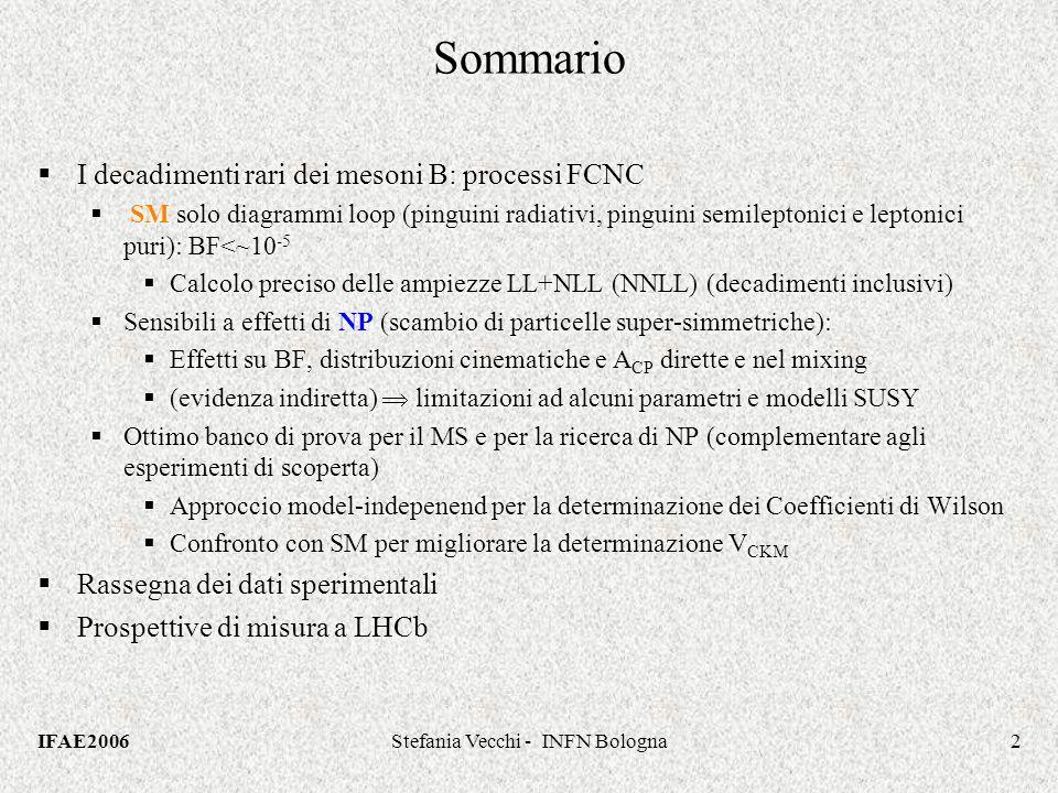 IFAE2006Stefania Vecchi - INFN Bologna2 Sommario I decadimenti rari dei mesoni B: processi FCNC SM solo diagrammi loop (pinguini radiativi, pinguini semileptonici e leptonici puri): BF<~10 -5 Calcolo preciso delle ampiezze LL+NLL (NNLL) (decadimenti inclusivi) Sensibili a effetti di NP (scambio di particelle super-simmetriche): Effetti su BF, distribuzioni cinematiche e A CP dirette e nel mixing (evidenza indiretta) limitazioni ad alcuni parametri e modelli SUSY Ottimo banco di prova per il MS e per la ricerca di NP (complementare agli esperimenti di scoperta) Approccio model-indepenend per la determinazione dei Coefficienti di Wilson Confronto con SM per migliorare la determinazione V CKM Rassegna dei dati sperimentali Prospettive di misura a LHCb I decadimenti rari dei mesoni B: processi FCNC SM solo diagrammi loop (pinguini radiativi, pinguini semileptonici e leptonici puri): BF<~10 -5 Calcolo preciso delle ampiezze LL+NLL (NNLL) (decadimenti inclusivi) Sensibili a effetti di NP (scambio di particelle super-simmetriche): Effetti su BF, distribuzioni cinematiche e A CP dirette e nel mixing (evidenza indiretta) limitazioni ad alcuni parametri e modelli SUSY Ottimo banco di prova per il MS e per la ricerca di NP (complementare agli esperimenti di scoperta) Approccio model-indepenend per la determinazione dei Coefficienti di Wilson Confronto con SM per migliorare la determinazione V CKM Rassegna dei dati sperimentali Prospettive di misura a LHCb