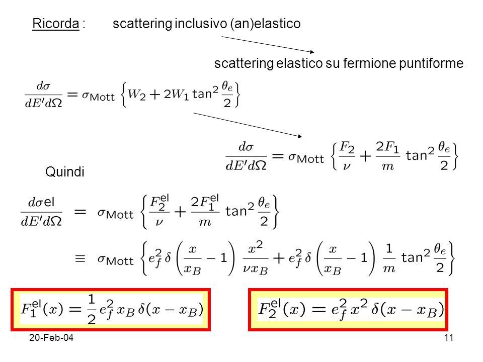 20-Feb-0411 Ricorda :scattering inclusivo (an)elastico scattering elastico su fermione puntiforme Quindi