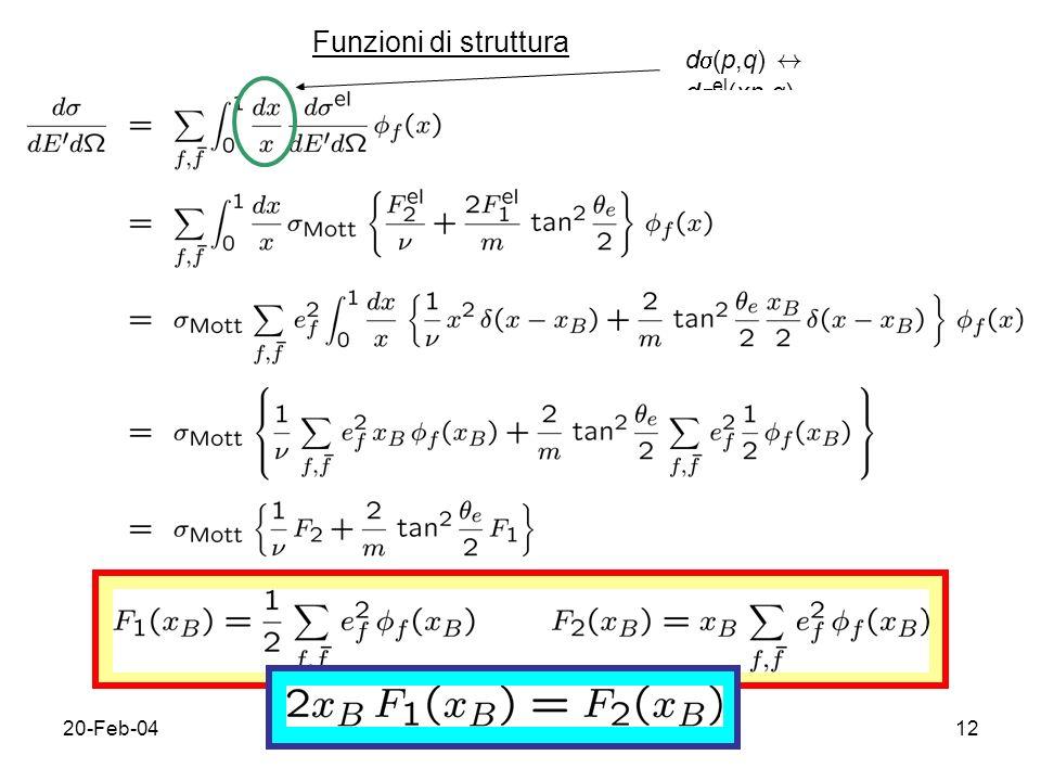 20-Feb-0412 Funzioni di struttura d (p,q) $ d el (xp,q)