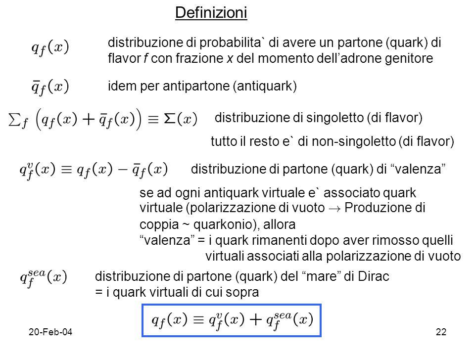 20-Feb-0422 Definizioni distribuzione di probabilita` di avere un partone (quark) di flavor f con frazione x del momento delladrone genitore idem per antipartone (antiquark) distribuzione di singoletto (di flavor) tutto il resto e` di non-singoletto (di flavor) distribuzione di partone (quark) di valenza se ad ogni antiquark virtuale e` associato quark virtuale (polarizzazione di vuoto .