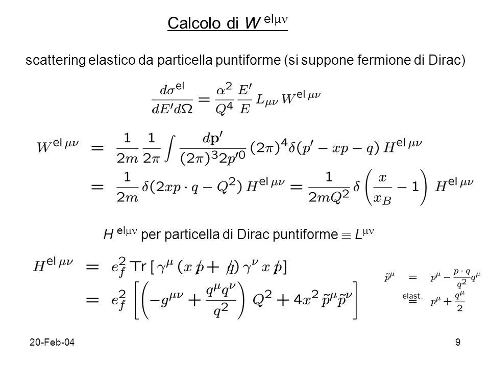 20-Feb-049 Calcolo di W el scattering elastico da particella puntiforme (si suppone fermione di Dirac) H el per particella di Dirac puntiforme ´ L