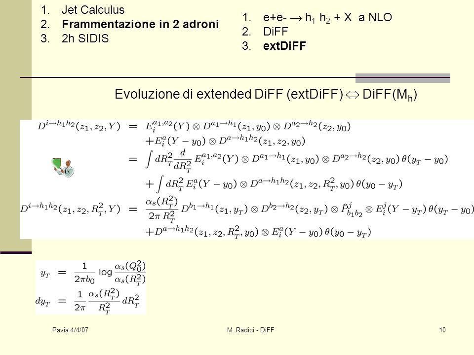 Pavia 4/4/07 M. Radici - DiFF10 Evoluzione di extended DiFF (extDiFF) DiFF(M h ) 1.